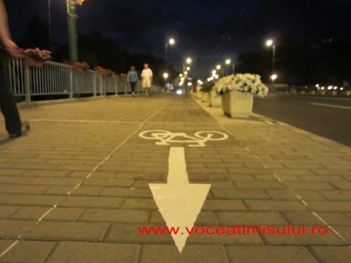 pista-biciclete-sageata-noaptea