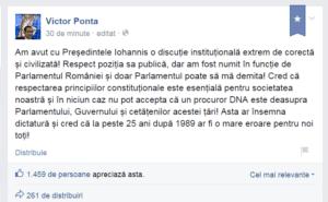 Mesaj Ponta pe Facebook